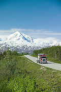 Richardon hgihway and Wrangell-St Elias mountains with a truck on the road