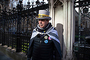 Anti Brexit protester Steve Bray poses for pictures as Prime Ministers questions is due to start in Westminster outside Parliament on 29th January 2020 in London, England, United Kingdom. With only two days until the UK is due to leave the EU, these will be some of the last protests with the UK as a European nation.