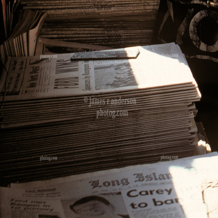 """Close-up slice of the previous image: Newsstand selling papers with """"Ford Wins"""" the primary, Brooklyn, New York City, February 25, 1976"""