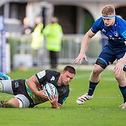 DUBLIN, IRELAND:  October 9:   Iacopo Bianchi #6 of Zebre gathers a kick through defended by Dan Leavy #6 of Leinster during the Leinster V Zebre, United Rugby Championship match at RDS Arena on October 9th, 2021 in Dublin, Ireland. (Photo by Tim Clayton/Corbis via Getty Images)