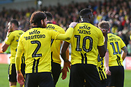 Burton Albion forward Lucas Akins (10) scores a penalty and celebrates 3-3 during the EFL Sky Bet League 1 match between Burton Albion and Accrington Stanley at the Pirelli Stadium, Burton upon Trent, England on 23 March 2019.