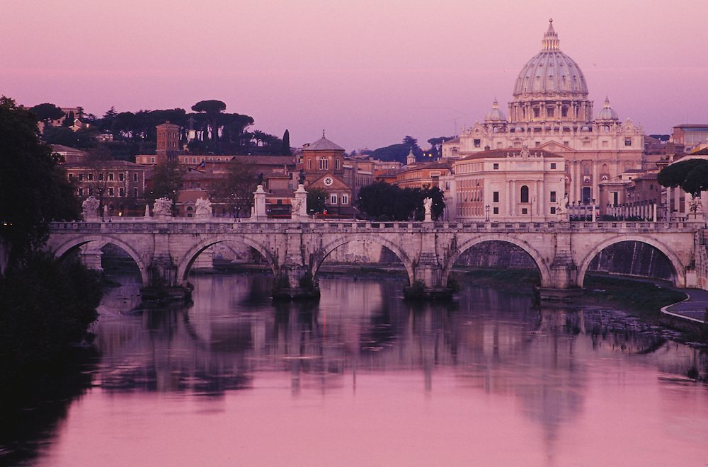 Europe, Italy, Rome, St. Peter's Basilica and Tiber River at dawn