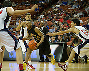 Jeremiah Jefferson (15) of Dallas Triple A Academy drives to the basket against El Paso Harmony Science Academy during the UIL Conference 1A semifinals at the Frank Erwin Center in Austin on Thursday, March 7, 2013. (Cooper Neill/The Dallas Morning News)