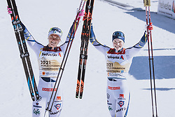 28.02.2021, Oberstdorf, GER, FIS Weltmeisterschaften Ski Nordisch, Oberstdorf 2021, Damen, Langlauf, Teamsprint, Freestyle, Siegerpräsentation, im Bild v.l.: Maja Dahlqvist (SWE), Jonna Sundling (SWE) // f.l.: Maja Dahlqvist of Sweden Jonna Sundling of Sweden during the winner presentation for the women Cross Country team sprint freestyle competition of the FIS Nordic Ski World Championships 2021 in Oberstdorf, Germany on 2021/02/28. EXPA Pictures © 2021, PhotoCredit: EXPA/ Dominik Angerer