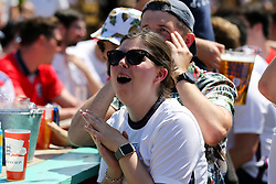 © Licensed to London News Pictures. 13/06/2021. London, UK. Fans watch England v Croatia on the big screen at Skylight Rooftop, Tobacco Dock in London, in England's opening Euro 2020 game.Photo credit: Dinendra Haria/LNP