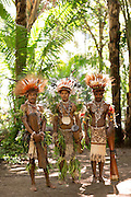 Men in traditional dress with traditional instruments, Mclaren Harbour, Tufi, Cape Nelson, Oro Province, Papua New Guinea
