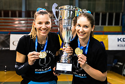 Olivera Kostic of Calcit Volley and Katja Mihevc of Calcit Volley with medal and trophy after 3rd Leg Volleyball match between Calcit Volley and Nova KBM Maribor in Final of 1. DOL League 2020/21, on April 17, 2021 in Sportna dvorana, Kamnik, Slovenia. Photo by Matic Klansek Velej / Sportida