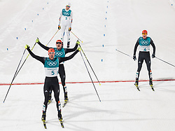 20.02.2018, Alpensia Cross-Country Skiing Centre, Pyeongchang, KOR, PyeongChang 2018, Nordische Kombination, Langlauf, im Bild v.l. Johannes Rydzek (GER, 1. Platz), Fabian Riessle (GER, 2. Platz), Jarl Magnus Riiber (NOR), Eric Frenzel (GER, 3. Platz) // f.l. gold medalist and Olympic champion Johannes Rydzek of Germany silver medalist Fabian Riessle of Germany Jarl Magnus Riiber of Norway bronce medalist Eric Frenzel of Germany during Nordic Combined, Cross Country of the Pyeongchang 2018 Winter Olympic Games at the Alpensia Cross-Country Skiing Centre in Pyeongchang, South Korea on 2018/02/20. EXPA Pictures © 2018, PhotoCredit: EXPA/ Johann Groder