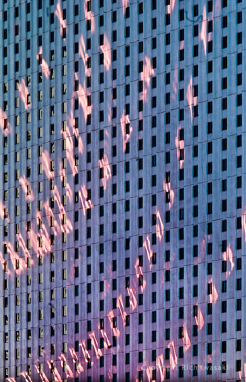 Light reflections on side of Circus Circus hotel building, Las Vegas, Nevada