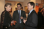 Sue Stafford, Jeremy Connell and Sam Hatfield, The Real Dream, private view for an exhibition of work by Michael Rogatchi. Cork St. London.  5 December 2006. ONE TIME USE ONLY - DO NOT ARCHIVE  © Copyright Photograph by Dafydd Jones 248 CLAPHAM PARK RD. LONDON SW90PZ.  Tel 020 7733 0108 www.dafjones.com