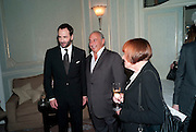 TOM FORD; SIR PHILIP GREEN; MARY QUANT; , Dinner to mark 50 years with Vogue for David Bailey, hosted by Alexandra Shulman. Claridge's. London. 11 May 2010 *** Local Caption *** -DO NOT ARCHIVE-© Copyright Photograph by Dafydd Jones. 248 Clapham Rd. London SW9 0PZ. Tel 0207 820 0771. www.dafjones.com.<br /> TOM FORD; SIR PHILIP GREEN; MARY QUANT; , Dinner to mark 50 years with Vogue for David Bailey, hosted by Alexandra Shulman. Claridge's. London. 11 May 2010