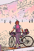 Digitally enhanced image of a Female tourist on cycling tour with her bicycle on the beach of Nazare, Portugal