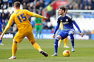 Cardiff City's Scott Malone (r) is challenged by Preston's Calum Woods (15). Skybet football league championship match, Cardiff city v Preston NE at the Cardiff city stadium in Cardiff, South Wales on Saturday 27th Feb 2016.<br /> pic by Carl Robertson, Andrew Orchard sports photography.
