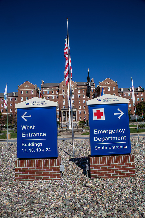 Lebanon, PA, USA - October 5, 2016: The entrance signs at the US Department of Veterans Affairs Medical Center in Lebanon County.