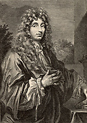 Christiaan Huyghens (1629-1695) Dutch physicist and astronomer.  Made a pendulum clock,  discovered the rings of Saturn, and proposed a wave theory of light. Engraving.