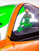 "A pilot ""action figure"" in the window of a T-28 Trojan at the 2012 Reno Air Races."