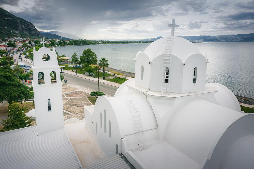 White church at Kamena Vourla, Greece