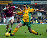 Picture: Henry Browne.<br /> Date: 21/02/2004.<br /> Norwich City v West Ham United Nationwide First Division.<br /> <br /> David Connolly of West Ham is challenged by Malky Mackay of Norwich.