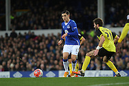 Muhamed Besic of Everton passes the ball under pressure. The Emirates FA cup, 3rd round match, Everton v Dagenham & Redbridge at Goodison Park in Liverpool on Saturday 9th January 2016.<br /> pic by Chris Stading, Andrew Orchard sports photography.
