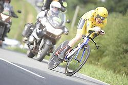 July 28, 2018 - Espelette, FRANCE - British Geraint Thomas of Team Sky wearing the yellow jersey of leader in the overall ranking pictured in action during the 20th stage of the 105th edition of the Tour de France cycling race, a 31km individual time trial from Saint-Pee-sur-Nivelle to Espelette, France, Saturday 28 July 2018. This year's Tour de France takes place from July 7th to July 29th...BELGA PHOTO YORICK JANSENS (Credit Image: © Yorick Jansens/Belga via ZUMA Press)