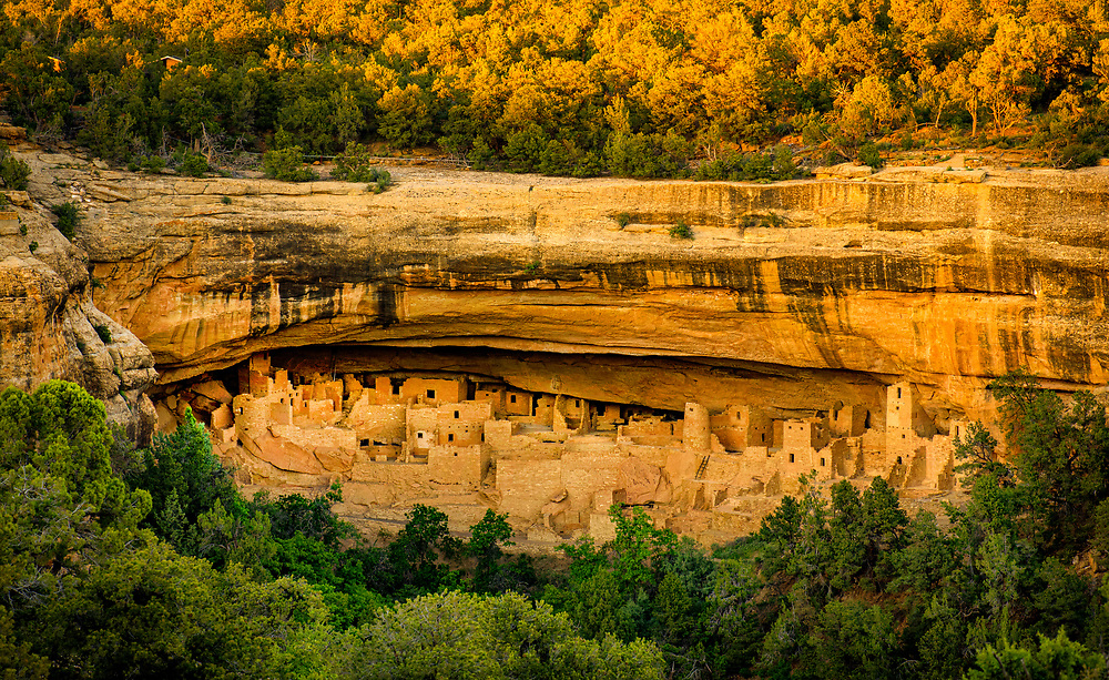Cliff Palace, Mesa Verde National Park, is the largest cliff dwelling in North America. It inhabited close to 100 residents at the height of its use in the 1200s. Cliff Palace was built by Ancestral Puebloans, native to the Four Corners region of the U.S. Montezuma County, Colorado