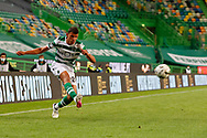 Matheus Nunes shoots to the area during the Liga NOS match between Sporting Lisbon and Belenenses SAD at Estadio Jose Alvalade, Lisbon, Portugal on 21 April 2021.