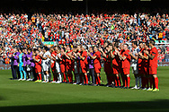Both teams line up for a minutes applause for ex Liverpool coach, Ronnie Moran, who passed away this week. Liverpool Legends  v Real Madrid Legends, Charity match for the LFC Foundation at the Anfield stadium in Liverpool, Merseyside on Saturday 25th March 2017.<br /> pic by Chris Stading, Andrew Orchard sports photography.