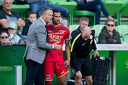 (L-R) coach John van den Brom of AZ, Ricardo van Rhijn of AZ during the Dutch Eredivisie match between FC Groningen and AZ Alkmaar at Noordlease stadium on October 15, 2017 in Groningen, The Netherlands