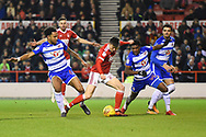 Nottingham Forest forward Joe Lolley (23) battles in the Reading area during the EFL Sky Bet Championship match between Nottingham Forest and Reading at the City Ground, Nottingham, England on 20 February 2018. Picture by Jon Hobley.