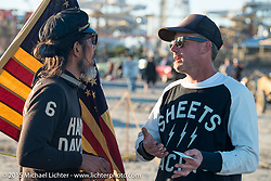 Atsushi (Sushi) Yasui of Freewheelers and Company in Japan with Jason Sheets of Sheets Welding and Machine in Maryland at the the Race of Gentlemen. Wildwood, NJ, USA. October 11, 2015.  Photography ©2015 Michael Lichter.
