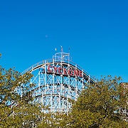 Cyclon historic wooden roller coaster in Coney island luna park, Brooklyn, New York