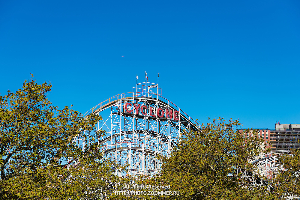 Cyclon historic wooden roller coaster in Coney island luna park, Brooklyn, New York