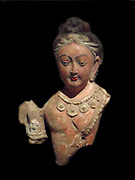 Bodhisattva or devata (fragment of a relief) 7th Century,  polychrome sculpture  from China