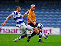 Photo: Leigh Quinnell/Sportsbeat Images.<br /> Queens Park Rangers v Hull City. Coca Cola Championship. 03/11/2007. Hulls Wayne Brown is tackled by QPRs Marc Nygaard.