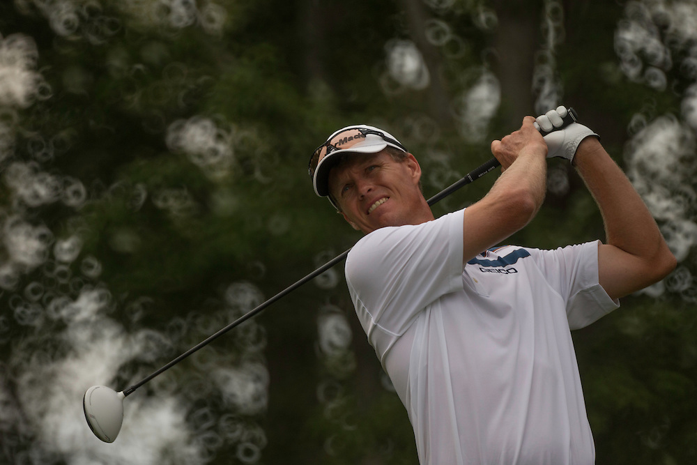 FARMINGDALE, NY - AUGUST 25:  John Senden of Australia plays a tee shot during the third round of the 2012 Barclays at the Black Course at Bethpage State Park in Farmingale, New York on August 25, 2012. (Photograph ©2012 Darren Carroll) *** Local Caption *** John Senden