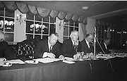 Alf Murray, Armagh (right) President of the GAA addresses the Annual Congress of the GAA at the Gresham Hotel, Dublin on Easter Sunday. On the left is the secretary of the GAA Sean O'Siochain...Annual Congress, GAA. 18.4.1965.  18th April 1965