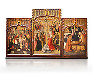 Gothic Catalan altarpiece of, left to right, the martydom of St Bartholomew, Calvaty and the deat of St Mary Magdelene, by Jaume Huguet, Barcelona circa 11465-1480, tempera and gold leaf on for wood, from the church of San Marti de Petegas de san Seloni, Valle Oriental, Spain.  National Museum of Catalan Art, Barcelona, Spain, inv no: MNAC   24365. Against a white background. .<br /> <br /> If you prefer you can also buy from our ALAMY PHOTO LIBRARY  Collection visit : https://www.alamy.com/portfolio/paul-williams-funkystock/gothic-art-antiquities.html  Type -     MANAC    - into the LOWER SEARCH WITHIN GALLERY box. Refine search by adding background colour, place, museum etc<br /> <br /> Visit our MEDIEVAL GOTHIC ART PHOTO COLLECTIONS for more   photos  to download or buy as prints https://funkystock.photoshelter.com/gallery-collection/Medieval-Gothic-Art-Antiquities-Historic-Sites-Pictures-Images-of/C0000gZ8POl_DCqE