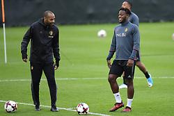 October 2, 2017 - Tubize, Belgique - Michy Batshuayi forward of Belgium talking to Thierry Henry ass. coach of Belgian Team (Credit Image: © Panoramic via ZUMA Press)
