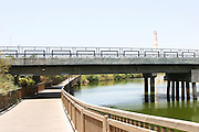 Israel, Tel Aviv, Hayarkon Park Rokah bridge over the Yarkon River