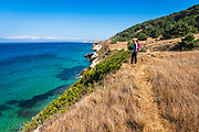 Hiker on the bluff below the Torrey Pine grove, Santa Rosa Island, Channel Islands National Park, California USA