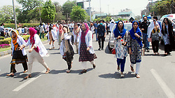April 17, 2018 - Pakistan - LAHORE, PAKISTAN, APR 17: Young Doctors and Paramedical Staff as they block road .holding protest demonstration for acceptance of their demands, at Jail road in Lahore on .Tuesday, April 17, 2018. (Credit Image: © PPI via ZUMA Wire)