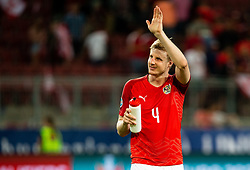 Martin Hinteregger of Austria waves to his supporters after the 2020 UEFA European Championships group G qualifying match between Austria and Slovenia at Wörthersee Stadion on June 7, 2019 in Klagenfurt, Austria. Photo by Vid Ponikvar / Sportida