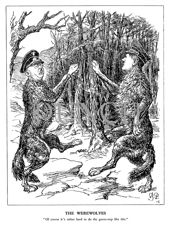 """The Werewolves. """"Of course it's rather hard to do the goose-step like this."""" (Himmler and Hitler practice their marching in the forest)"""