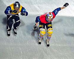 04-02-2012 SKATING: RED BULL CRASHED ICE WORLD CHAMPIONSHIP: VALKENBURG<br /> (L-R) Andrei Lavrov RUS, Fabian Mels GER during the Quarter final<br /> ©2012-FotoHoogendoorn.nl / Peter Schalk