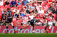 Hull FC left wing Fetuli Talanoa (5) scores a try to make the score 4-6 during the Ladbrokes Challenge Cup Final 2017 match between Hull RFC and Wigan Warriors at Wembley Stadium, London, England on 26 August 2017. Photo by Simon Davies.