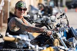 Heading out on her Panhead from the Biltwell Bash at Robison's Cycles during the Daytona Bike Week 75th Anniversary event. FL, USA. Friday March 11, 2016.  Photography ©2016 Michael Lichter.