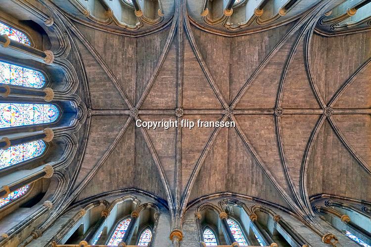 Ireland, Dublin, 26-3-2018Plafond, dakgewelf van de kathedraal . St. Saint Patrick, Patricks Cathedral .Foto: Flip Franssen