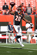 Cincinnati Bengals rookie running back Joe Mixon (28) leaps and catches a pass with one hand while warming up before the 2017 NFL week 4 regular season football game against the Cleveland Browns, Sunday, Oct. 1, 2017 in Cleveland. The Bengals won the game 31-7. (©Paul Anthony Spinelli)