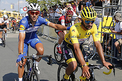 July 8, 2018 - La Roche-Sur-Yon, France - GAVIRIA RENDON Fernando (COL) of Quick - Step Floors and GILBERT Philippe (BEL) of Quick - Step Floors during stage 2 of the 105th edition of the 2018 Tour de France cycling race, a stage of 182.5 kms between Mouilleron - Saint-Germain and La Roche-Sur-Yon on July 08, 2018 in La Roche-Sur-Yon, France, 8/07/18 (Credit Image: © Panoramic via ZUMA Press)