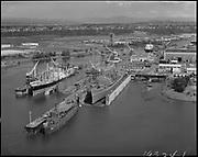 """Ackroyd_19324-1. """"Port of Portland. Swan Island dry docks aerials. May 9, 1975"""""""